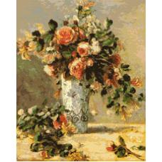 Рози и жасмин във ваза от Делфи /Реноар/
